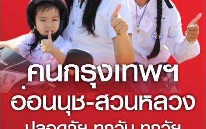 คนอ่อนนุช/กรุงเทพฯ (ร่วมเปลี่ยนแปลงประเทศไทย) สวมหมวกนิรภัย100% ทั้งคนขับและคนซ้อนท้าย