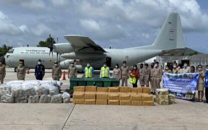 """ทัพฟ้าช่วยไทย ต้านภัยโควิด-๑๙ ภายใต้แนวคิด """"ทัพฟ้ามาประชิด ช่วยธุรกิจเพื่อสังคม """"ขนข้าว แลกปลา เปลี่ยนสินค้าเกษตร"""""""